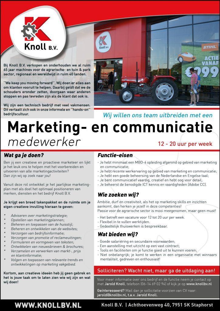 Vacature Marketing- en Communicatie Medewerker - Knoll B.V.